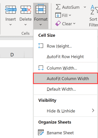 Autofit Column width using the option in the ribbon