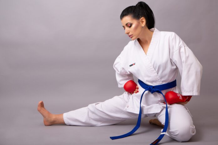 woman, portrait, karate