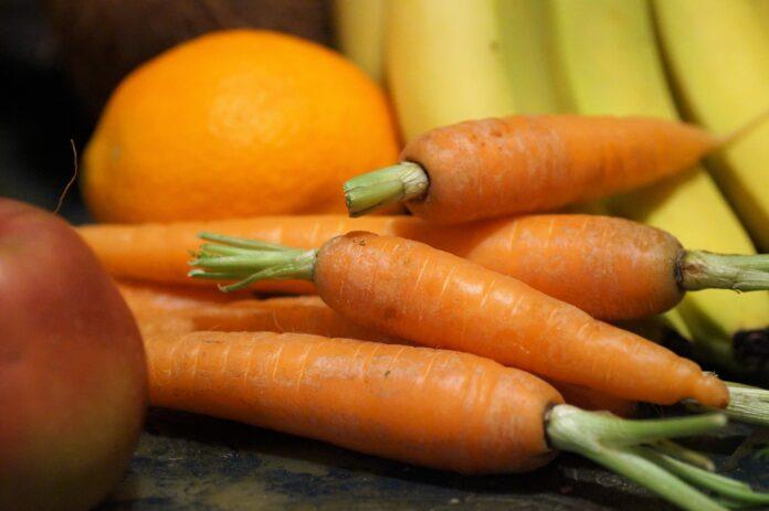 carrots, vegetables, fruit